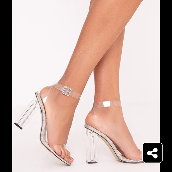 59a5d65d30238c Prettylittlething silver glitter sole clear heels